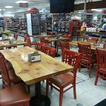 Our deli seating looking into the market