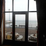 The view from the bar / restaurant over the pier and the sea.
