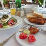 Greek Salad and Tomato Fritters - Delicious