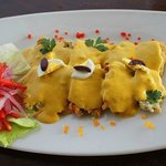Silversidings with yellow pepper sauce
