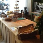 our beautiful bespoke serving counter. check out the gorgeous home baked cakes