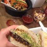 Lentl Burger with Guac, Fries and a delicious Macrobiotic Kale Tempeh  Bowl