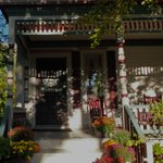 The Victoria front porch on an October morning