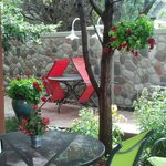 Patio dining is beautiful. The flowers are exquisite and only surpassed by the food and friendly