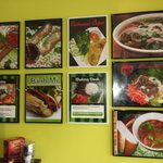 Pictures of food on the wall