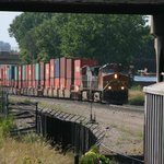 Hiden attraction, real freight trains passing museum!