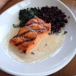 Grilled Salmon Filet with black rice and garlic spinach