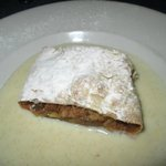 Homemade apple strudel with rum sauce...the BEST ever!