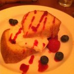 Almond pound cake with fresh strawberries and blueberries