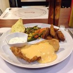 Deep fried dory fillet with melting cheese