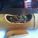 Bamboo pot with beef teriyaki and fried rice. Very good.