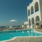 View from the pool area, 'Ismini' is the middle villa on the ground floor