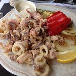 Fried squid with grilled veggies