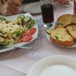 Caesar salad & garlic bread