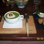 Broccoli Soup w/goat cheese and walnut