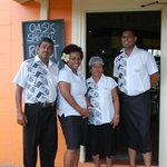 chef Naresh, waitress Lisi, cook Hem, bar Alvin
