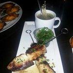 black cod miso skewers with seaweed salad and miso soup