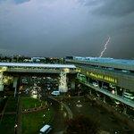Lightning strikes outside