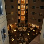 Inside courtyard of hotel with piano bar