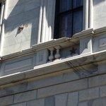 Stars denote where cannon balls hit the building
