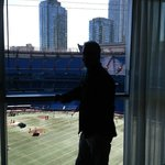 View of Blue Jays field from our room with dome open