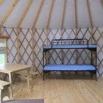 3 sets of bunk beds in yurts