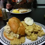 chicken salad and fried pickles, countr fried steak