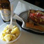 German style hotdog, potato salad and a Bitburger!