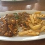 Chicken curry with rice and chips @ New Inn