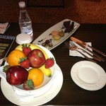 Complimentary fruit and cakes