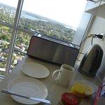 Making breakfast in the stunning kitchen.