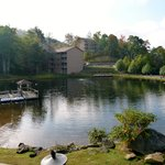 Small lake on site with paddle boats and fishing