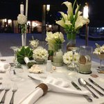 Wedding dinner table, decorated by Friday's