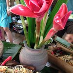 """""""Da-hla"""" (the pinkish flower) not just for decoration.  Fried noodles with bamboo shoot & fungus"""