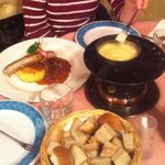 Cheese Fondue & sausage with rossti