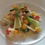 Butter Poached Lobster, with Mango, Pak Choi, Oyster Mushrooms