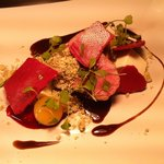 Cotswold lamb, goat cheese, pineapple and beetroot meringue