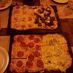 A pizza quadrada!