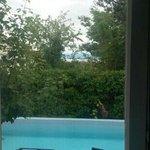 Blick auf Pool und See
