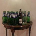 The lager bottles in the corridor