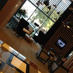 Part of hotel lobby - as seen from coffee shop