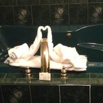 swan towels on the jacuzzi