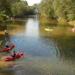 Kayakers and waders