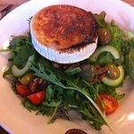 Goat cheese salad on a slice of beef tomato instead of crouton. Delicious!