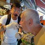 Angelis feeding us mussels & rice street food