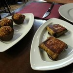 Black pudding truffles & aubergines stuffed with cheese and black olive pate