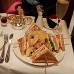 Club sandwich and a French 74 cocktail in the bar.