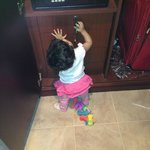 My daughter playing inside the room
