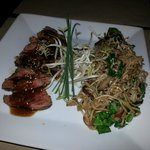 Beef in teriyaki sauce with noodles