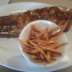 full rack ribs with sweet potato fries